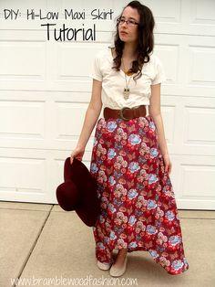 DIY: Hi-Low Maxi Skirt Tutorial by Bramblewood Fashion, via Flickr