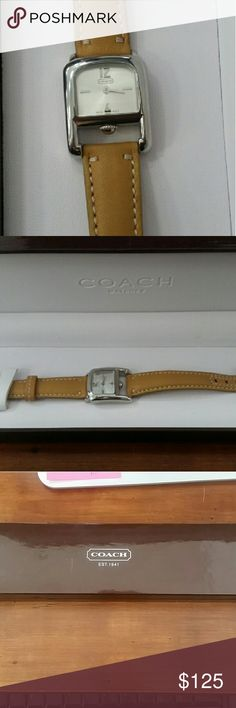 Authentic Coach watch New with box Purchased, never worn. No scratches. Box has few scratches. Walter resistant. Stainless steel. Coach Accessories Watches