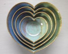 4 nesting ceramic heart bowls 4 1/2 inches blue by JDWolfePottery