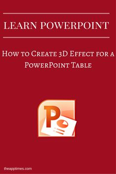 In this PowerPoint tutorial, we show you how to create 3D effect for a PowerPoint table so you can make the table stand out. via @theapptimes