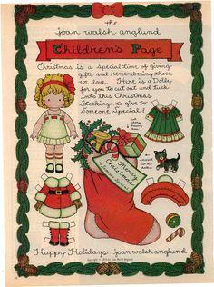 en embellissement sur vos créations ou à offrir à une fillette pour jouer, une adorable paper doll pour Noël...
