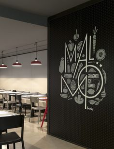 Wall graphics at Malmö restaurant, Sweden by Borja Garcia Studio