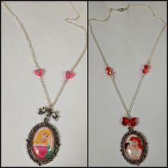 #necklace #collier #cabochon #disney #aurora #ariel #littlemermaid