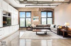 Robert Watson Lofts-363-369 Sorauren Ave #412 | Rare 1000+ sf 1 bedroom + office + 2 bath NW corner loft featuring original exposed brick walls, 10 ft high ceilings & custom polished concrete floors. | More info here: torontolofts.ca/robert-watson-lofts-lofts-for-rent/363-369-sorauren-ave-412 Lofts For Rent, Exposed Brick Walls, Polished Concrete, High Ceilings, Bedroom Office, Concrete Floors, Corner, Patio, Flooring
