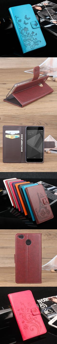 Wallet Style Leather Case for Xiaomi Redmi 4X Fashion Embossed Flip Cover Case for Xiaomi Redmi 4X Pro With Stand Function