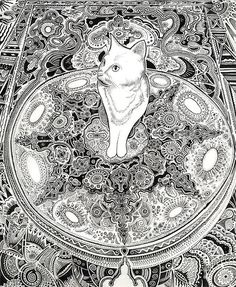 white cat drawing cat art cute kitty giclee print by mynameisO Doodle Drawings, Animal Drawings, Doodle Art, Cat Doodle, Colouring Pages, Adult Coloring Pages, Coloring Books, Cat Drawing, Line Drawing