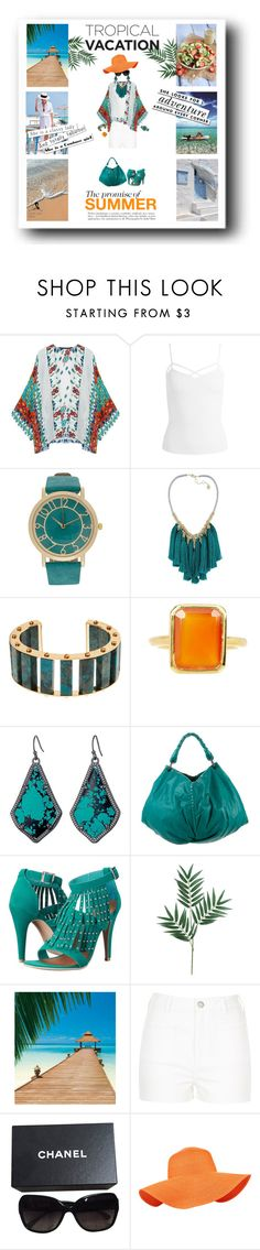 """""""Tropical Dreams 2"""" by quicherz on Polyvore featuring Sans Souci, French Connection, Lele Sadoughi, Savvy Cie, Kendra Scott, Bottega Veneta, Penny Loves Kenny, Le Specs, River Island and Kate Spade"""