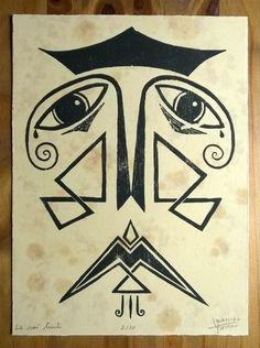 Technique : gravure sur bois Dimensions du papier : 28 X 20,7 cm Papier couleur ivoire et teinté au café numérotage : 2/30  La gravure est vendue