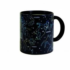 Constellation Mug    See the Constellations Emerge from the Night Sky  Pour a hot cup of coffee into this mug and watch as 11 constellations emerge before your very eyes! This 10 oz. thermo-sensitive ceramic mug is the perfect gift for any astronomy enthusiast in your life.  Constellations featured: Cassiopea, Perseus, Saggitarius, Hercules, Andromeda, Scorpius, Taurus, Ursa Major, Ursa Minor, Orion Castor & Pollux.