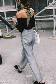 Silk bandana, off the shoulder top and high waisted pants: street style