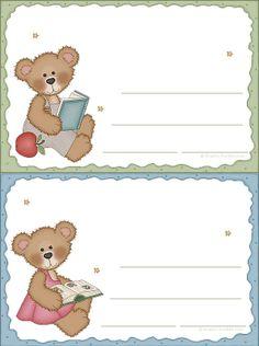 Lindas etiquetas coloridas para pastas e cadernos! Teddy Bear Cartoon, Teddy Bear Party, Robot Theme, Bookmark Craft, School Labels, Baby Boy Scrapbook, Bear Theme, School Photos, Printable Labels