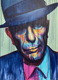 Leonard Cohen farverig portræt maleri Malerierne - Allan Buch Malerier