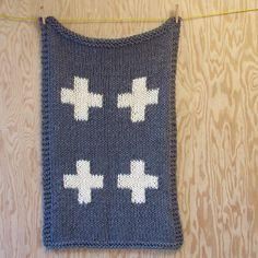 hand-knit 4-cross blanket - acrylic