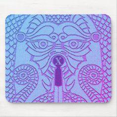 Custom Dragon Face Mousepad navy on aqua Dragon Face, Dragon Head, Good Luck Chinese, Dragon's Teeth, Year Of The Dragon, Chinese Symbols, Gamer Gifts, Custom Mouse Pads, Corner Designs