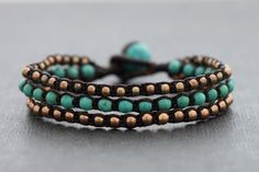 This is hand woven bracelet made with dark brown cotton waxed cord weaved together with turquoise stone and rose gold plated on brass bead. Closure