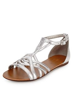 T-Bar Caged Sandals   M&S
