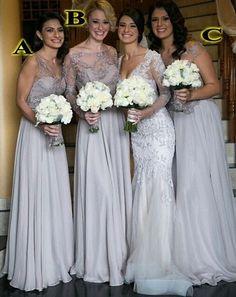 Gray bridesmaid dress,long bridesmaid dress,Cheap bridesmaid dress,Lac – Princesssbride
