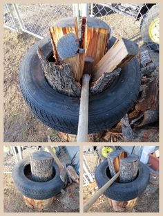 How to make splitting wood 100% easier and faster. Place a tire on top of the cutting block, the split wood doesn't fall off, so no more picking it up again and again. All you do is split the round in half in one direction, then move yourself to the next angle and split the two halves, one and then the other, it all splits inside the tire with nothing falling out on the ground ... then just gather up and take inside the house, no bending over all the time