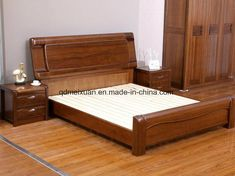 Solid Wooden Bed Modern Double Beds picture from Qingdao Yuhang Household Products Co. view photo of Wood, Solid Wooden, Double Beds. Solid Wood Bedroom Furniture, Natural Wood Furniture, Wooden Bedroom, Bed Furniture, Wooden Beds, Wooden Furniture, Furniture Makeover, Furniture Ideas, Wood Bed Design