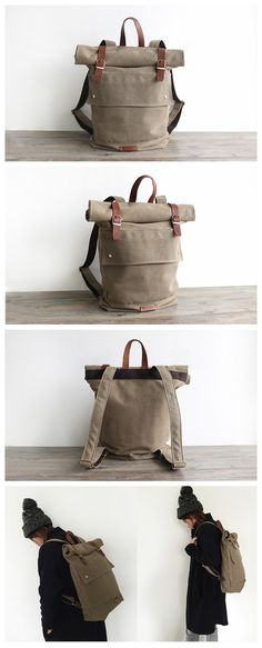 Handmade Waxed Canvas Backpack Travel Backpack School Backpack Casual Rucksack 16001