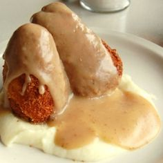 """The Dining Car's Chicken Croquettes, as featured in """"Guy's Diners, Drive-Inns, and Dives."""""""