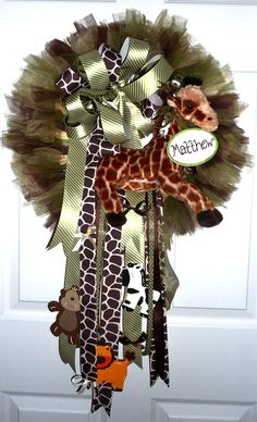 Jungle Themed New Baby Wreath - Perfect for hanging on the hospital door and nursery door at home.