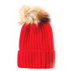 Red Rib Knit Beanie Hat With Brown Faux Fur PomPom 9c3c6d8cf676