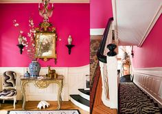 Top 16 Benjamin Moore Paint Colors Oh, we love pink! And Razzle Dazzle is a show stopper. It can make any room fabulous, flirty and feminine. Bohemian Living Rooms, Colourful Living Room, Pink Hallway, Powder Room Design, Benjamin Moore Paint, Transitional Decor, Pink Walls, China, Home Interior Design