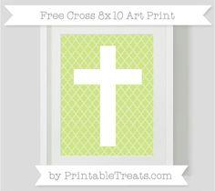 Free Pastel Lime Green Moroccan Tile Cross 8x10 Art Print