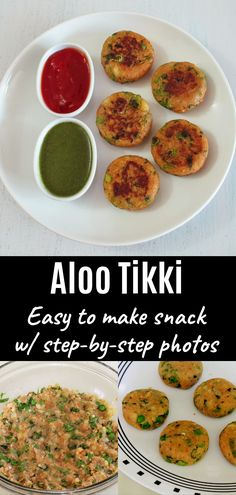 This vegan aloo tikki recipe is delicious Indian street food that you can make at home very easily. As an Indian snack, this tastes best when served with green chutney and/or ketchup. Aloo Recipes, Curry Recipes, Snack Recipes, Cooking Recipes, Raw Recipes, Veggie Recipes, Cooking Tips, Aloo Tikki Recipe, Chaat Recipe