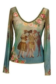 Michal Negrin Gradient Blue Green Shirt with Long Sleeves, Vintage Photography Pattern Accented with Swarovski Crystals, Lace Trim and Gold Merrow Edge Finish - Size XS Michal Negrin,http://www.amazon.com/dp/B008HQUOQ4/ref=cm_sw_r_pi_dp_14aDrbF0E6CC4D97