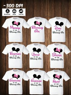 Disney Family Mickey Minnie Mouse Set Of 9 Iron On Transfers Matching Shi