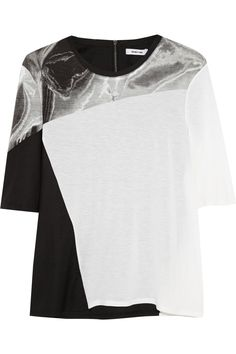 Helmut Lang Printed jersey and stretch-twill top