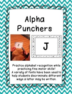 These Alpha Punchers are great for your literacy centers, your small group instruction or even as an assessment tool to see if your students have mastered the letters you have taught.
