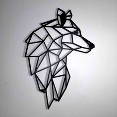 Wolf Geométrico wall decoration with animal heads. Made by black lines origami type, size cm Very easy to place Geometric Wolf Tattoo, Geometric Logo, Geometric Wall, Geometric Animal, Animal Drawings, Art Drawings, Geometric Shapes Drawing, Feather Tattoos, Unique Tattoos
