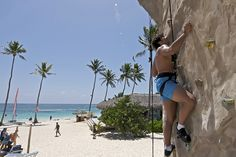 Rock climbing on the beach at Ocean Blue  Sand resort in Punta Cana, Dominican Republic.