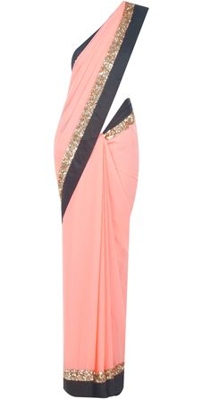 Pink sari with gold sequinned and black satin border available only at Pernia's Pop-Up Shop. Indian Attire, Indian Ethnic Wear, Indian Dresses, Indian Outfits, Anarkali, Lehenga, Indische Sarees, Party Mode, Desi Wear