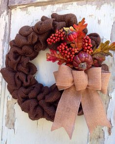 Thanksgiving Fall Wreath  Autumn Harvest Chocolate by WreathUnique, $43.00