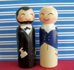 Hand Painted Love Boxes President Abraham Lincoln George Washington Portrait Peg Doll Wood by handpaintedloveboxes Wood Peg Dolls, Clothespin Dolls, Paint Stick Crafts, Pringles Can, Doll Painting, Japanese Embroidery, Wooden Pegs, Waldorf Dolls, Doll Crafts