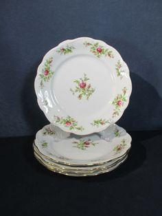 Johann Haviland Moss Rose Dinner Plates Set of 5 Vtg Bavaria Germany Fine China #JohannHaviland