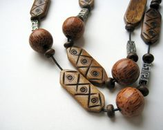 Unisex necklace bone beads palm tree beads by foxfragaria on Etsy, $15.00