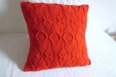 Hand Knit Pillow Cover Pure Red Throw Pillow by Adorablewares