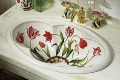 Red Flowers Decorative Pattern Sink from Kohler