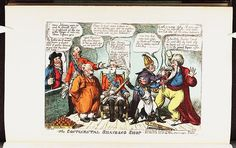 [1806?]-09.The continental shaveing shop.Satire on the Napoleonic wars. (British political cartoon),Bodleian Libraries,Charles-Maurice de Talleyrand. Francis II,HRE.Friedrich Wilhelm III of Prussia.John Bull.