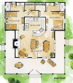 House Plan - Cottage Plan: Square Feet, 2 Bedrooms, 2 Bathrooms - Marilyn T. Small House Floor Plans, Cottage Floor Plans, Dream House Plans, Dream Houses, Small Cottage Plans, Small Cabin Plans, 3d House Plans, Tiny House Cabin, Cottage House