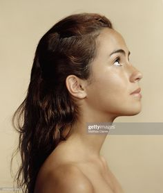 Stock Photo : Teenage girl of hispanic descent,looking up,close-up,side view Female Side Profile, Side Profile Woman, Face Profile, Women Profile, Profile View, Human Reference, Female Reference, Photo Reference, Anatomy Reference