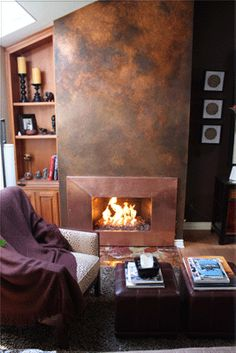 Aluminum or Stainless Steel fireplace surrounds. Stainless steel custom frames for fireplaces. Rust Paint, Copper Paint, Copper Wall, Fireplace Frame, Fireplace Surrounds, Custom Fireplace, Muebles Living, Tadelakt, Modern Masters