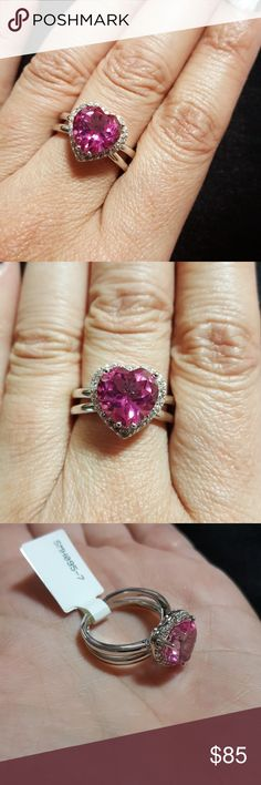 🎉HEART SHAPE PINK TOPAZ & WHITE ZIRCON 925 RING JUST ARRIVED TODAY,  NWT BEAUTIFUL VIBRANT 3.40CT HEART SHAPED PINK TOPAZ AND .24CTW ROUND WHITE ZIRCON IN A UNIQUE & EXTREMELY COMFORTABLE DOUBLE SPLIT RING SHANK.   HALLMARKED 925 STERLING SILVER.  LOOKS AWESOME IN THE SUNLIGHT,  WITH DIAMOND-LIKE DISPERSION FROM THE WHITE ZIRCONS, HIGH POLISH,  PERFECT GIFT FOR MOTHER'S DAY,  BIRTHDAYS,  GRADUATIONS,  YOURSELF, ANY OCCASION IN A WOMEN'S SIZE 7.  :) FINE JEWELRY  Jewelry Rings