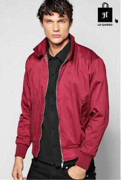 Cazadora para hombre modelo boohoo man Harrington rojo #Bomber #Moda #ModaHombre #Hombre #Tendencias
