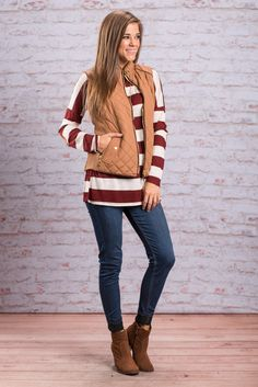 """""""City Streets Vest, Tan"""" This quilted puffy vest is great for city streets or country roads! It's chic style is just what you need this fall! #newarrivals #shopthemint"""